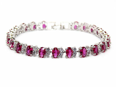 Silver Ruby And White Topaz 14ct Tennis Bracelet (925)