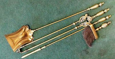 Set of 4 Victorian Brass Fire Irons Companion Set with the brush