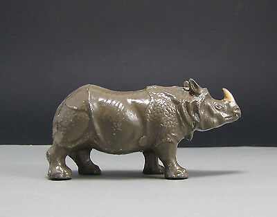 Vtg RHINOCEROS RHINO France B.F. Lead Toy Metal Animals Noah's Ark Zoo Figure