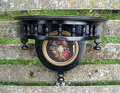 Antique Wooden Wall Shelf Stand Embroidery Needlework Art Nouveau Wood