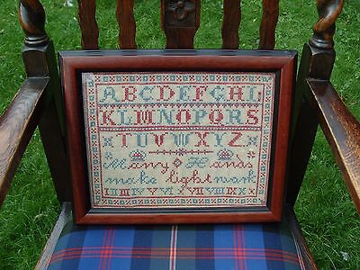 Antique English Sampler Embroidery Needlework Needlepoint