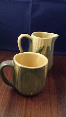 Shawnee U.S.A. Pottery  (Corn) Cup & Small Pitcher