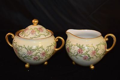 O&EG Royal Austria 3 Footed Creamer and Sugar - HAND PAINTED SIGNED