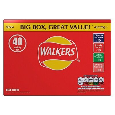Walkers Crisps Variety Box Of 40 x 25g Bags Classic Flavours Great Best