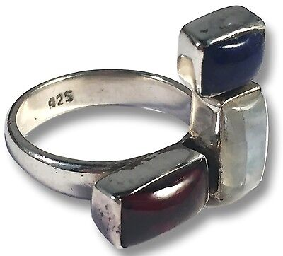 MOONSTONE, LAPIS and GARNET RING Triple Stone Design Set in 925 Sterling Silver
