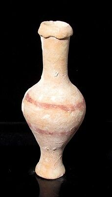Ancient Greek Hellenistic Terracotta Perfume Flask Spindle Bottle p2480