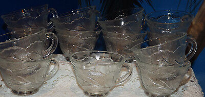 ~Vintage Set of 13 Indiana Glass Pebble Leaf Punch Bowl Cups~