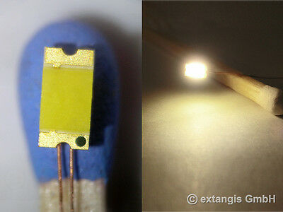 100x LED 1206 SUNNY WHITE WEISS gelötet Cu-Draht 0,1mm