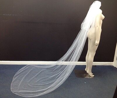 Cathedral Style Full Length Sequined White Net Bridal Veil