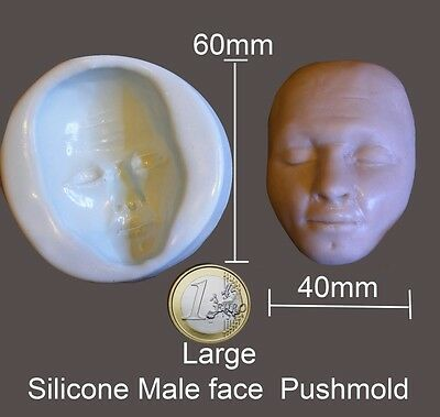 Large Silicone Male face push mold for fimo sculpey polymer clay