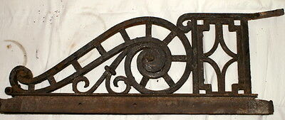 2 Antique Large Wrought Iron Sign Brackets Architectural Salvage 1800's Heavy