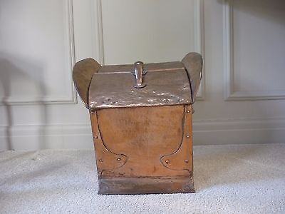 Stunning Arts&crafts Copper Coal/log Scuttle/box With Original Liner