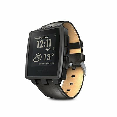 Pebble Steel Smartwatch Black Smart Wrist Time Watch Waterproof Android iOS New