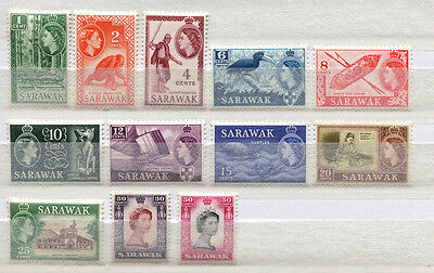Sarawak Set of 12 mint MNH Queen Elizabeth stamps issued 1955-7 - FREE UK POST