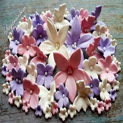 57 edible sugar paste flowers cake cupcake toppers decorations PINK/VIOLET/WHITE
