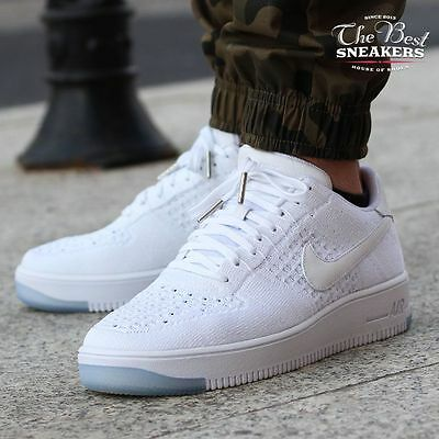 NIKE AIR FORCE 1 Flyknit Low Mens 817419-100 White Ice Double Boxed ... a640cf2172