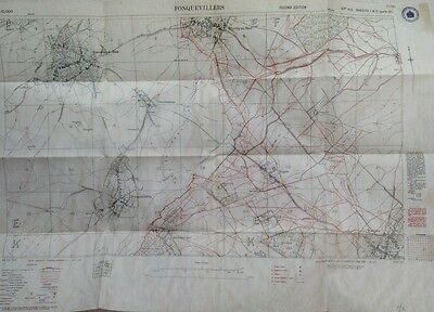 Somme Battlefield. New WW1 trench map FONQUEVILLERS Bucquoy Gommecourt etc
