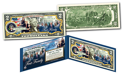Donald Trump and The FIRST FAMILY of the United States Official Genuine $2 Bill