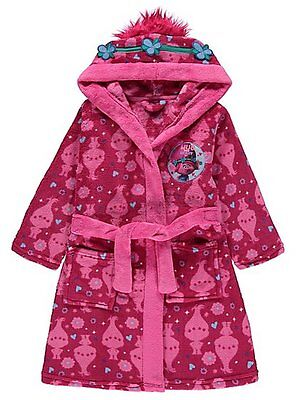 Girls Trolls Hooded Dressing Gown  Princess Poppy's Robe Age's 4-10 Years