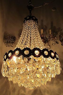 Antique Vnt French HUGE Basket Style Crystal Chandelier Lamp 1940's 17in dmtr===