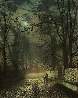John Atkinson Grimshaw A Moonlit Night Painting 8x10 Real Canvas Art Print