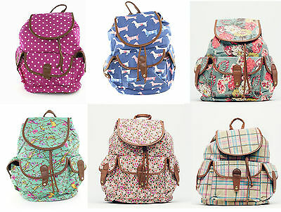 Ladies Canvas Lined Rucksack Back Pack Large Flap Over Clasp School Bag College*