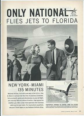 1959 National Airlines - Flies Jets To Florida - Vintage Print Ad