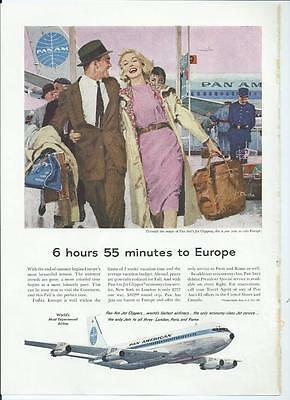 1959 Pan Am (Pan American) Airlines - Jet Clipper To Europe - Vintage Print Ad