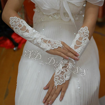 New Ivory Bridal Wedding Party Dress Fingerless Pearl Lace Satin Bridal Gloves