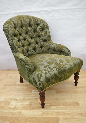 Antique Style Victorian Mahogany Buttoned Nursing Ladies Armchair New Upholstery