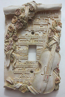 Cast switch plate cover ornate beige sheet music violin floral bunch of flowers