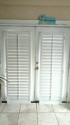 """INTERIOR SOLID WOOD PLANTATION SHUTTER WHITE  3 1/2"""" LOUVERS 24"""" W x 71 1/4"""" L"""