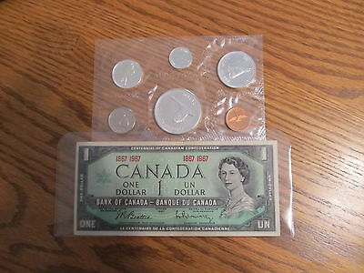 1967 Centenial Prooflike Coin Set & Dated Dollar Note