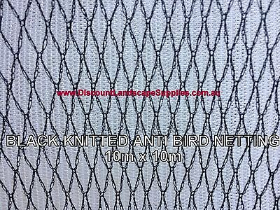 BLACK Knitted Anti Bird Netting 10m x 10m Commercial Pest Net Plant Fruit Trees