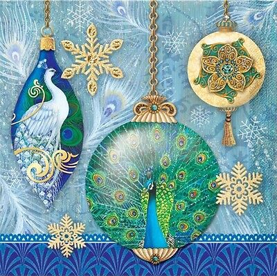 pUNCH sTUDIO Set of 20 Holiday Decoupage Luncheon Napkins - Peacock Ornaments