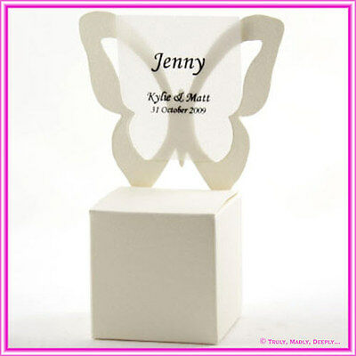 Bomboniere / Favor Metallic Cream Embossed Butterfly Chair Boxes - Pack of 10