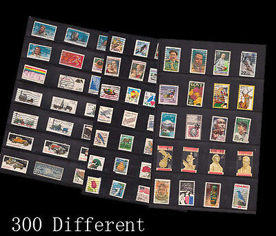 300 PCS/lot , USA Used Vintage Postage Stamps with Post Mark Off Paper