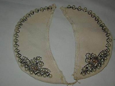 Vintage Beaded Faux Pearls Sweater Dress Collar Neck Two Pieces
