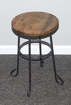 Vintage Style Wrought Iron Legs Wooden Top Stool Rustic Industrial Drafting