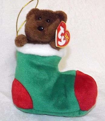 "Ty Beanie Babies Christmas Bear Named Stockings 6"" NWT"