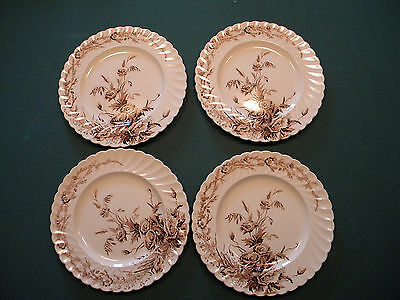 "10"" Clarice Cliff ""Harvest"" Brown and White Transferware FOUR dinner plates"
