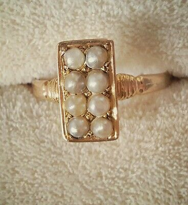 Antique 9Ct 9K Rose Gold Pearl Ring Multi Row Victorian Uk Size 9 Rectangle