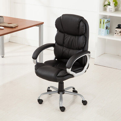 Black PU Leather Office Chair High-Back Executive Task Ergonomic Computer Desk