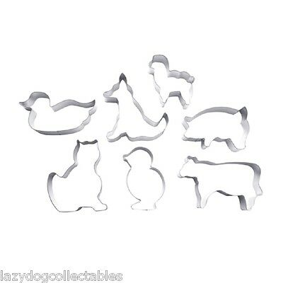 Farm Animal Cookie Cutter Set of 7 metal shapes Cuisena