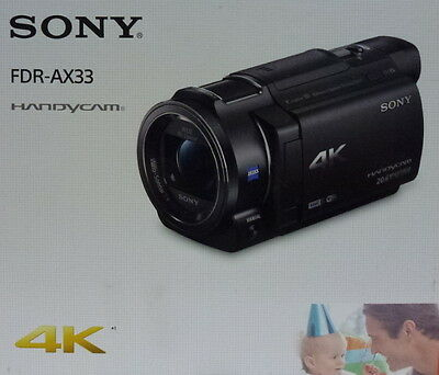 Sony Handycam FDR-AX33 18.9 MP Ultra HD Camcorder - 4K – Black FDRAX3 New Sealed