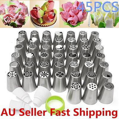 45X Russian Flower Icing Piping Nozzles Cupcake Cake Decoration Tips Baking Tool