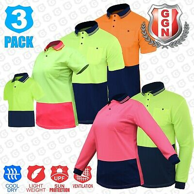 5x HI VIS Polo Shirts SAFETY Work Wear COOL BREATHABLE MICROMESH LONG SLEEVE