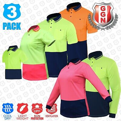 HI VIS POLO Mens Kids Ladies Work Shirt 3 5 Pack Two Tone Cool BREATHABLE