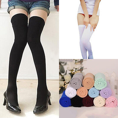 Solid Long Over The Knee Cotton Socks Thigh High Soft Cozy Stockings  Womens