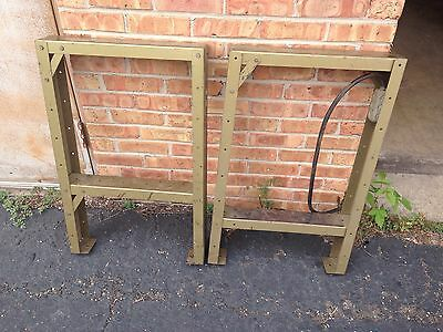 Vintage Metal Industrial Legs Table Bench Metallic Lime Green Color Steampunk
